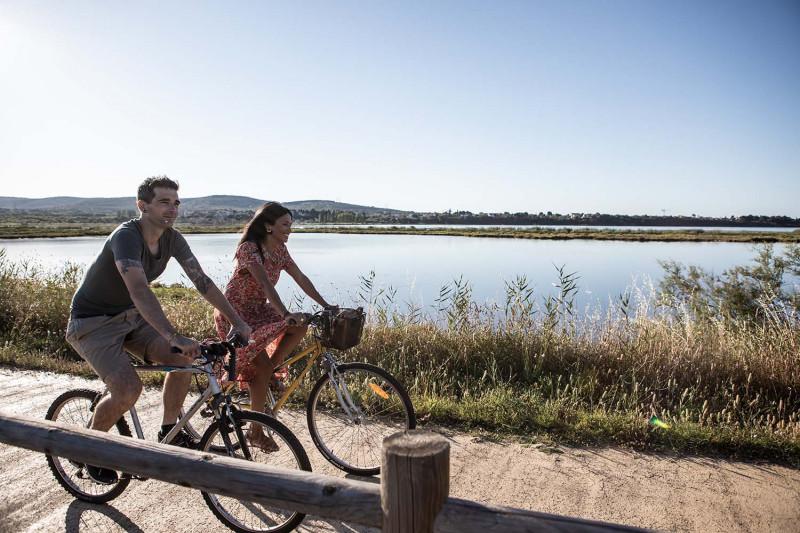 Vélo sur la voie verte entre Bouzigues et Balaruc